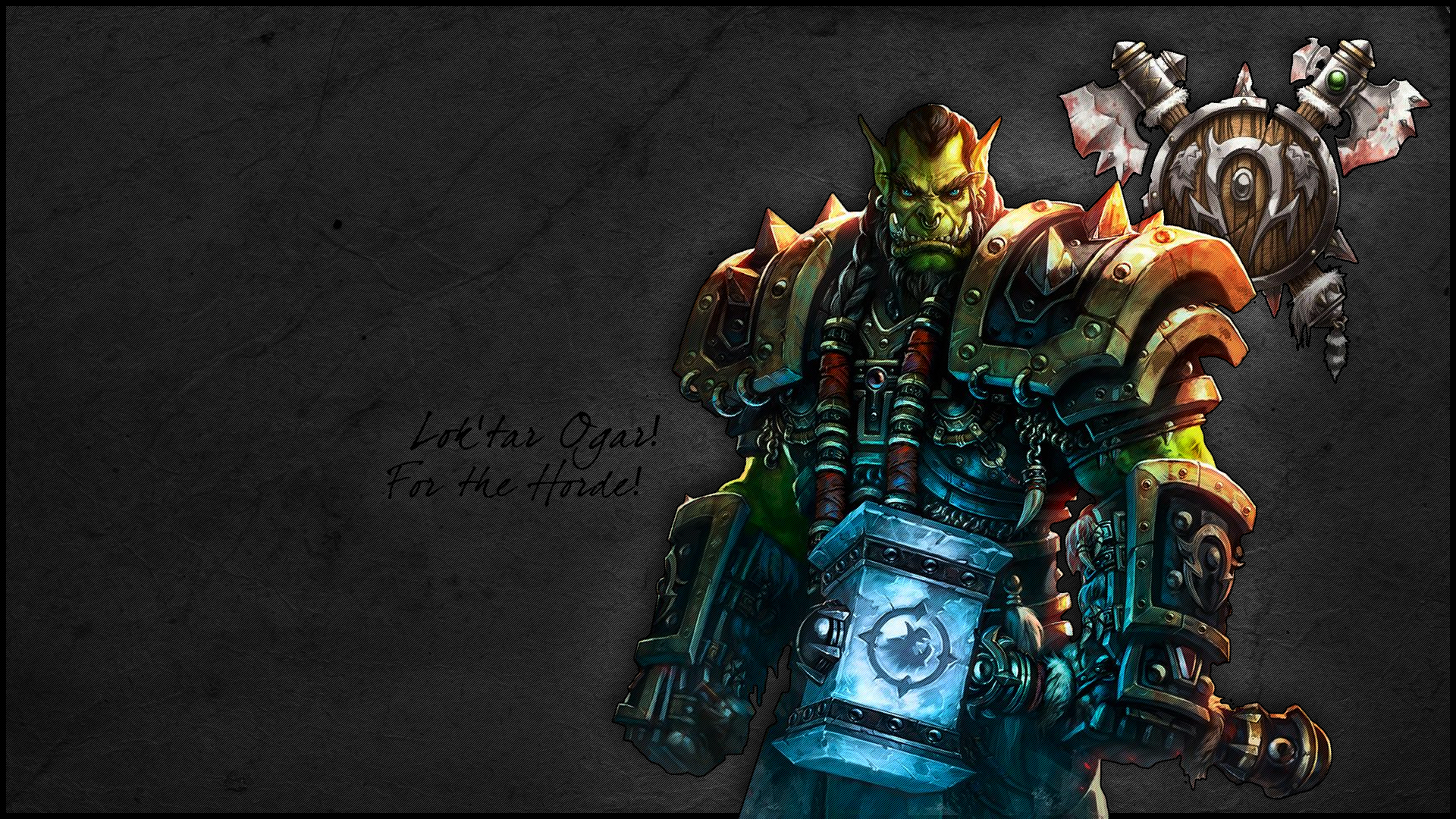 Wallpaper warcraft wow thrall horde hammer thrall 1920x1080