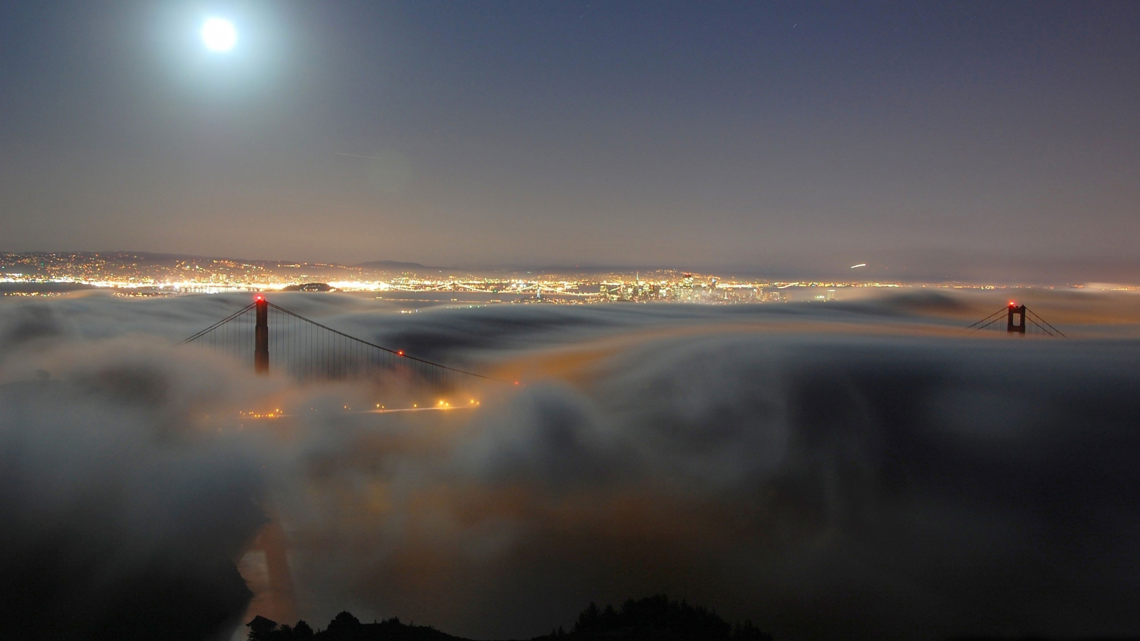 Wallpaper golden gate bridge light moon fog night san francisco 3840x2160