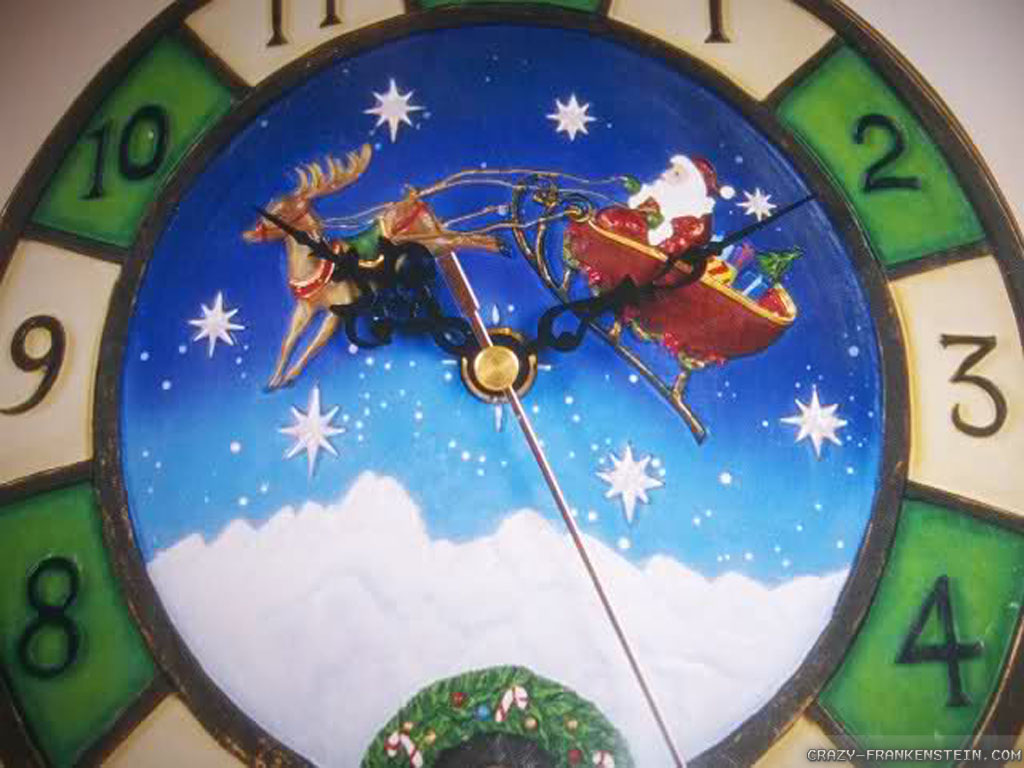 christmas desktop wallpaperclock wallpaper   DriverLayer Search Engine 1024x768