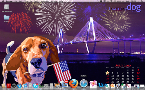 July Computer Wallpaper    with Calendar Lowcountry Dog 500x313