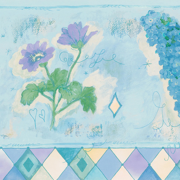 Brewster Light Blue Watercolor Floral Wallpaper Border 600x600