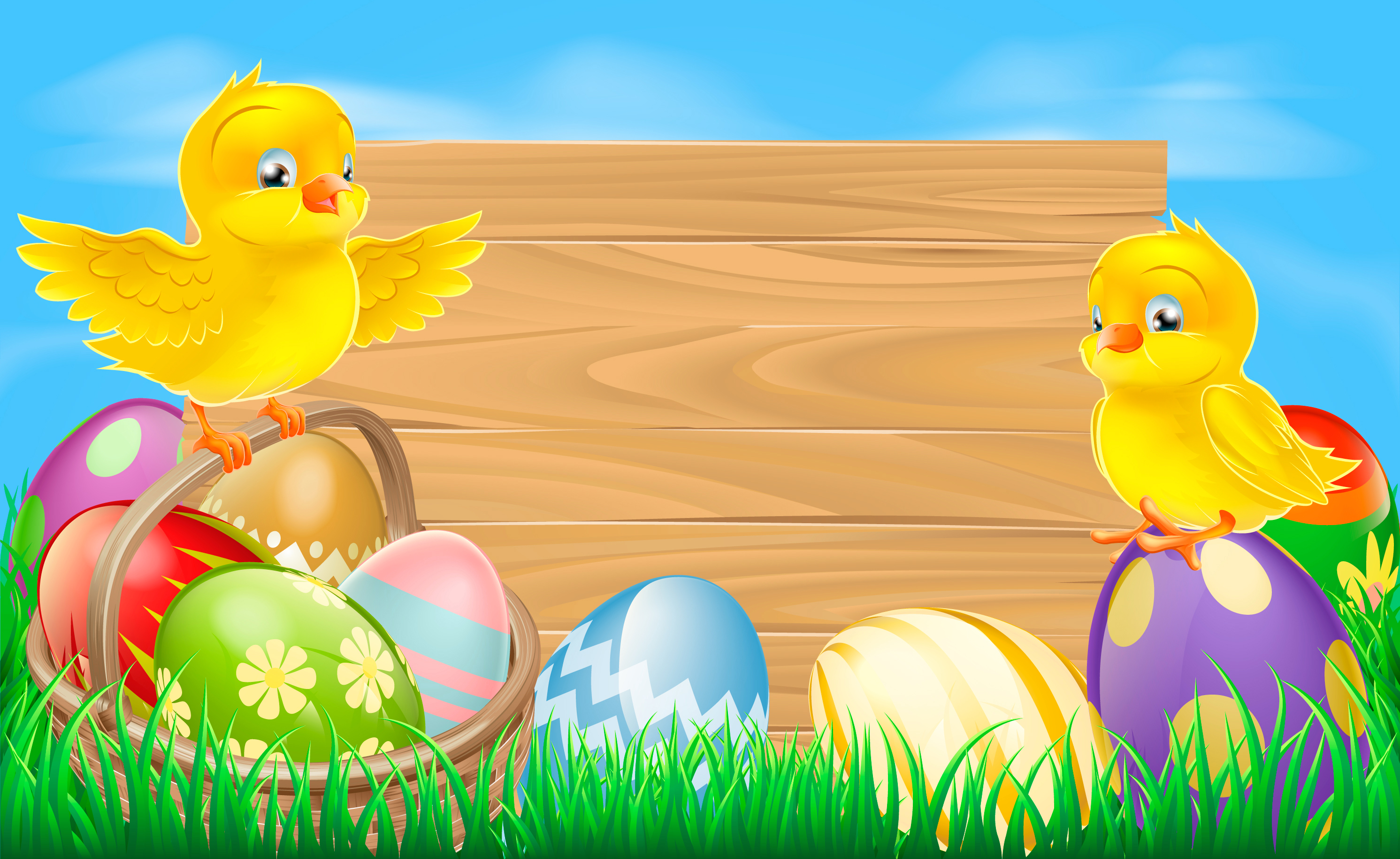 Easter Background with Eggs and Chickens Gallery Yopriceville 2983x1829