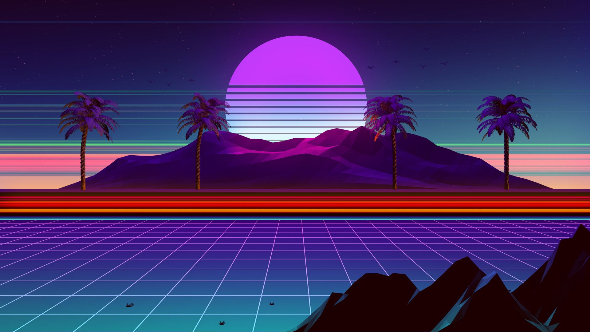 1920x1080 Synthwave And Retrowave 1080P Laptop Full HD Wallpaper 1920x1080