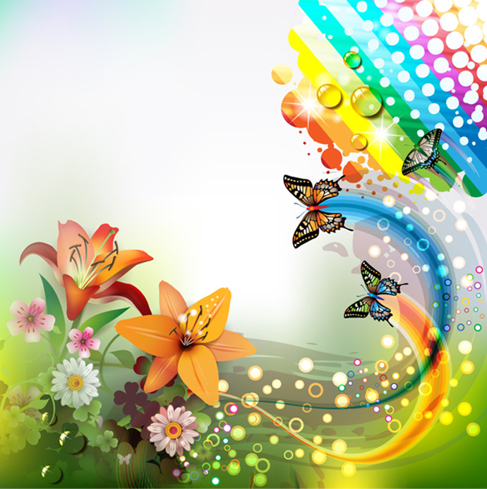 butterfly rainbow flowers floral water drops abstract 690x692