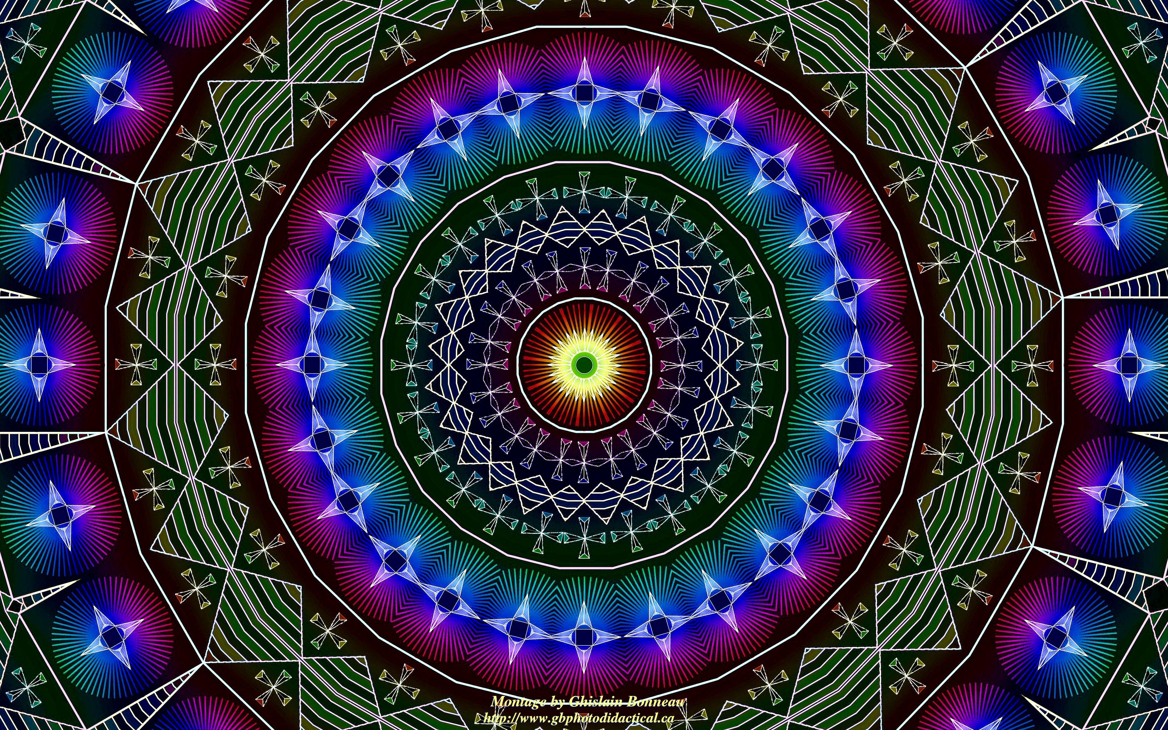 Wallpaper Psychedelic Kaleidoscope 15 AHSANTI Stool Symbols Ws 3840x2400