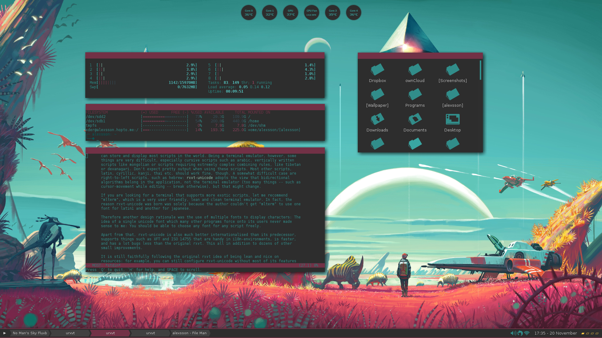 Fluxbox screenshot based on No Mans Sky   Imgur 1920x1080