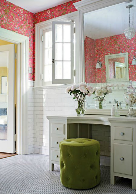 modern traditional bathroom bright coral floral wallpaper 449x640