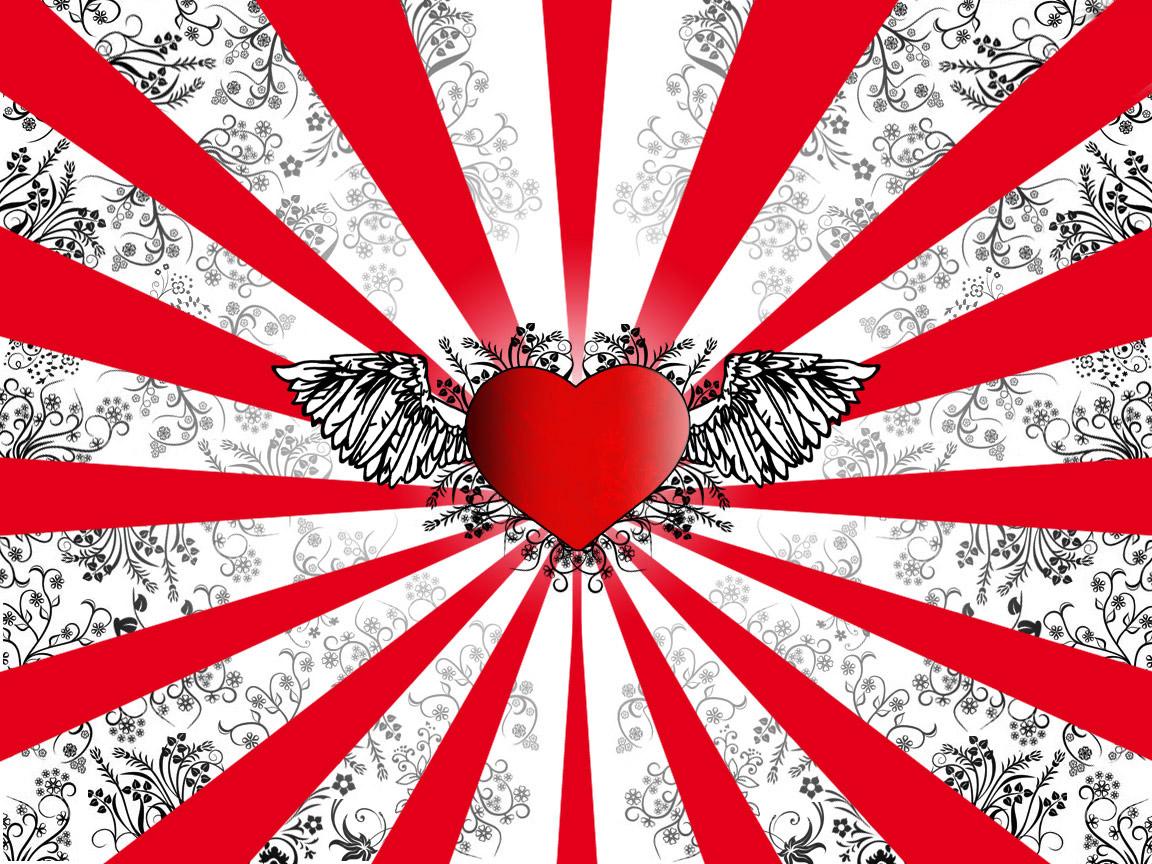 Heart With Wings Desktop Wallpapers 1152x864