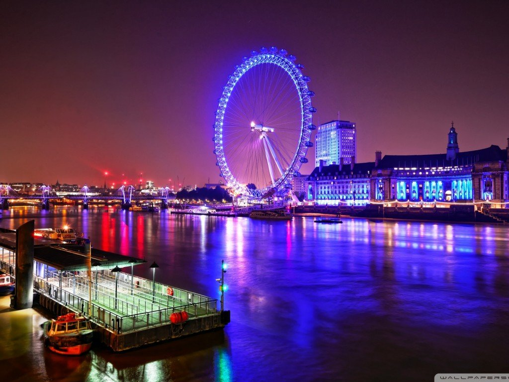 London Eye At Night Hd Wallpapers 1024x768