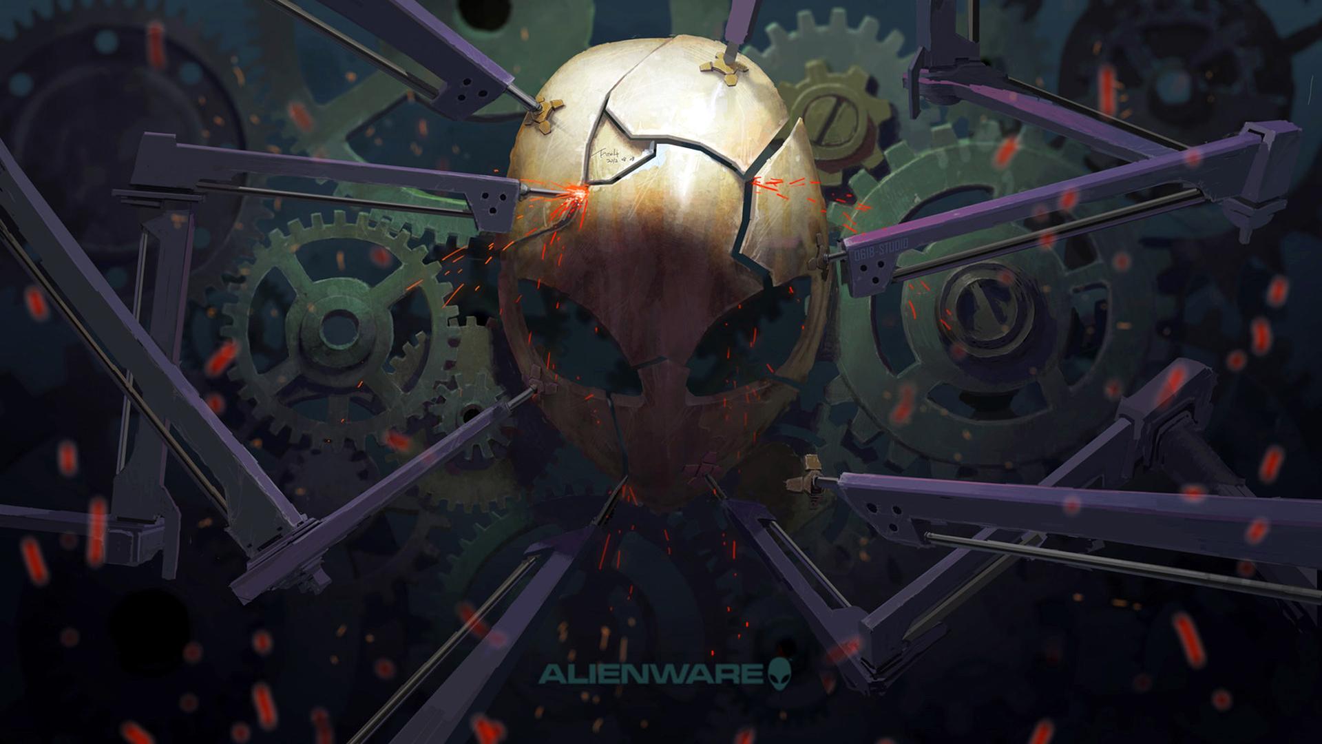 alienware broken mask cool logo 1920x1080 1080p wallpaper compatible 1920x1080