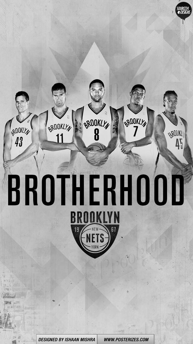 Brooklyn Nets Brotherhood Wallpaper Posterizes NBA 640x1136