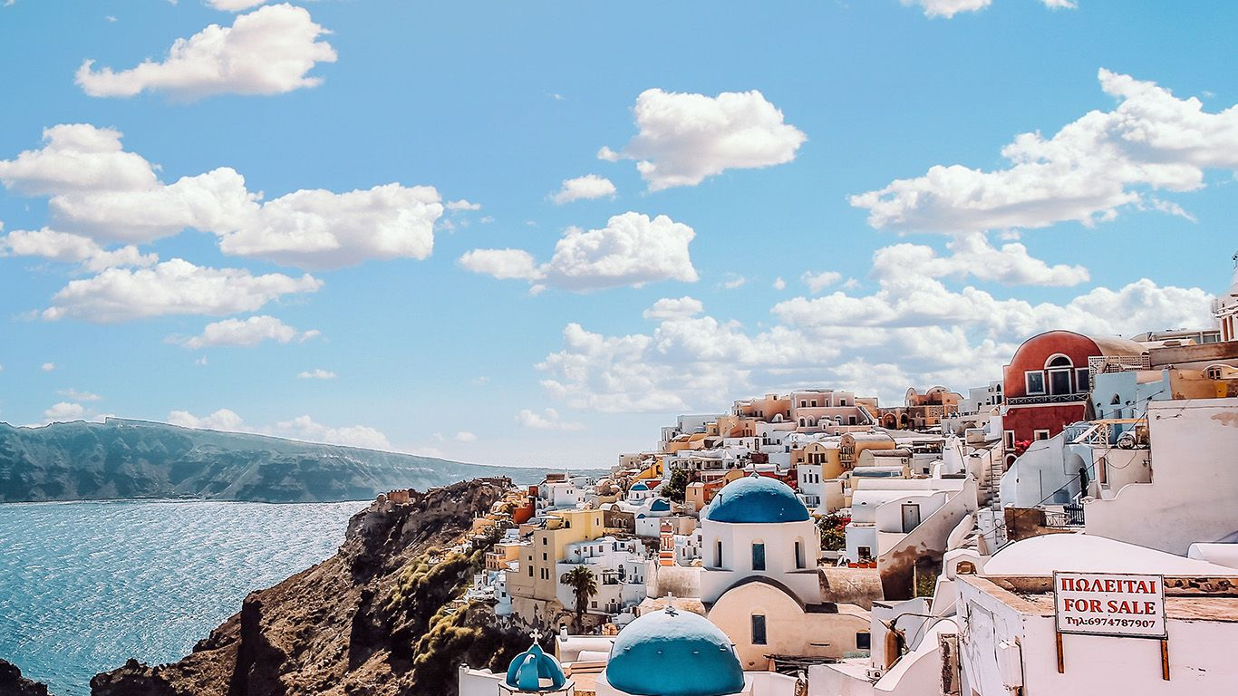 wallpaper ob79 sky sunny summer greece city nature Computer 1366x768