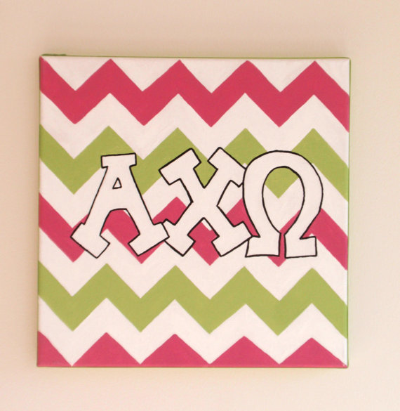 hand painted Alpha Chi Omega letters outline with chevron background 570x585