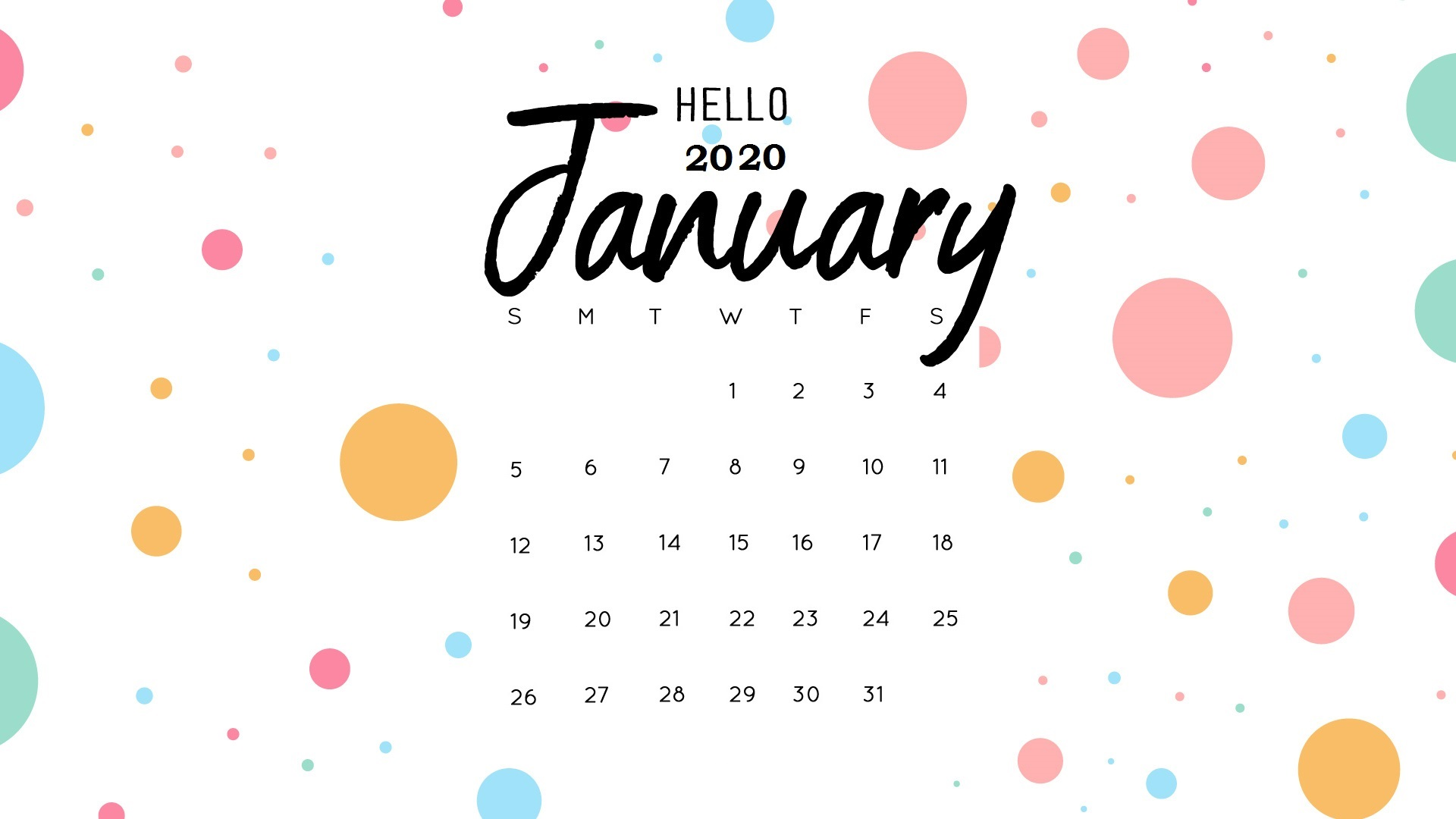 January 2020 Wallpaper Calendar Calendar 2019 1920x1080
