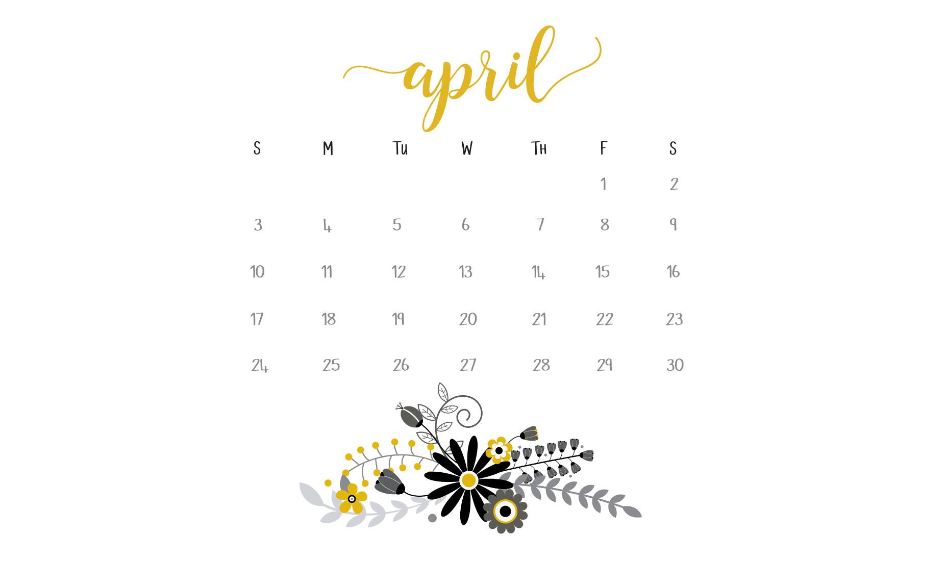 April 2016 Calendar Printables and Freebies 1856x1151