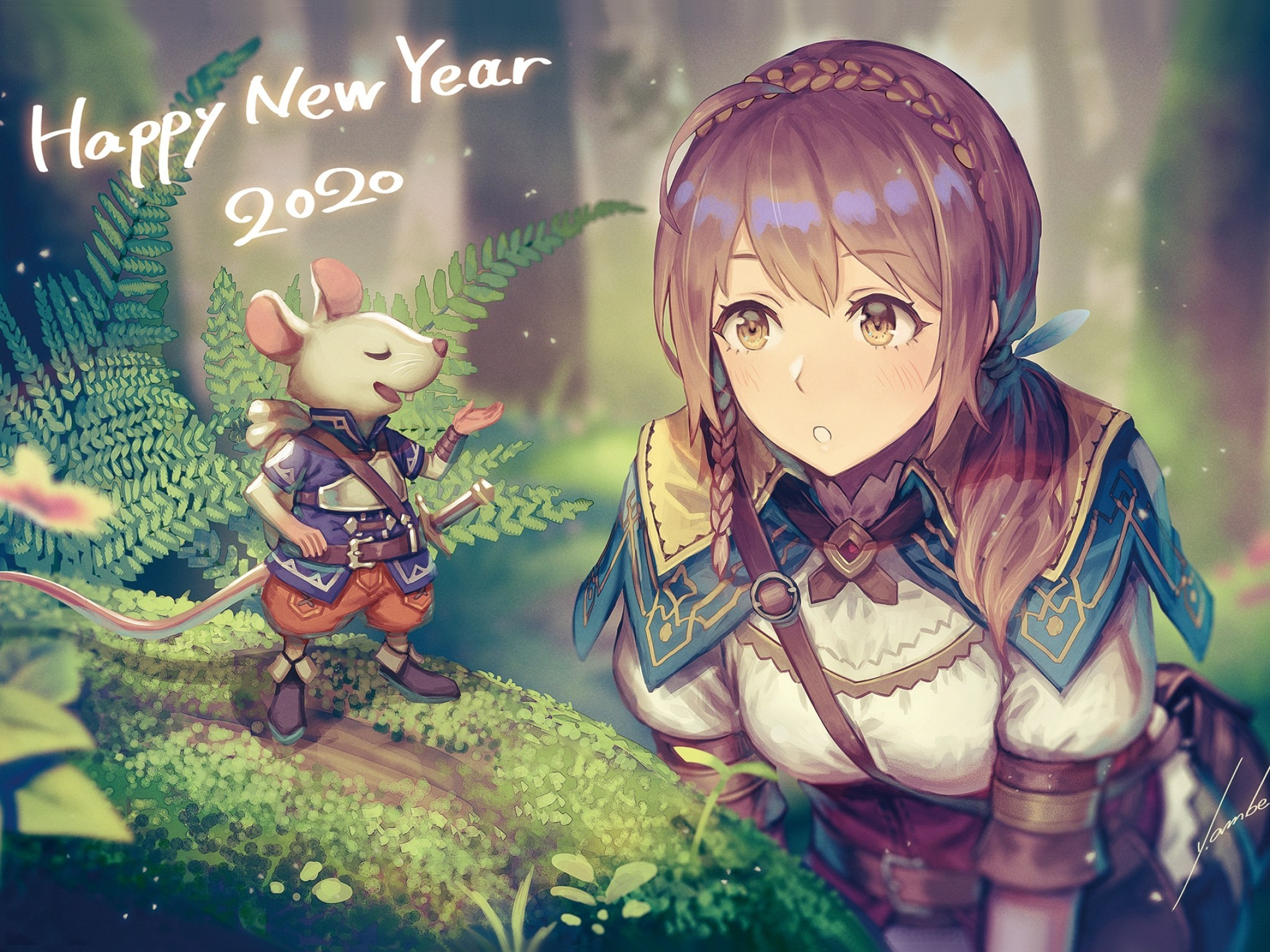 Download 2048x1536 Anime Girl Adventurer Forest Light Armor 2048x1536
