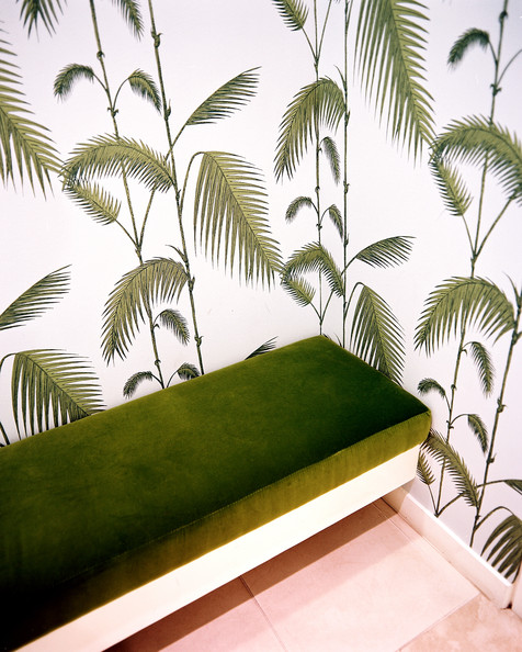 Green Retail Store Design   Palm frond wallpaper and a green bench in 476x594