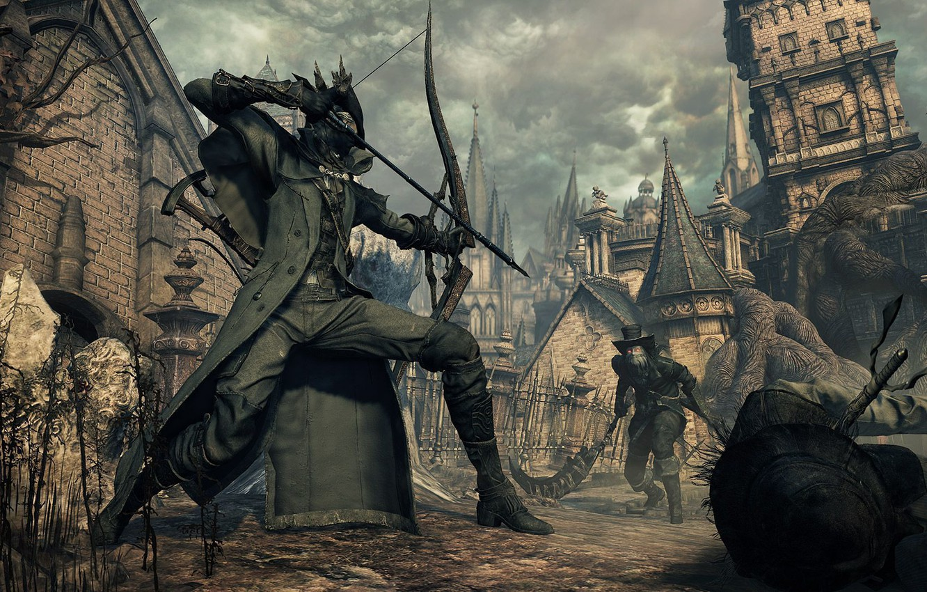 Wallpaper the city bow fortress hunter Bloodborne images for 1332x850