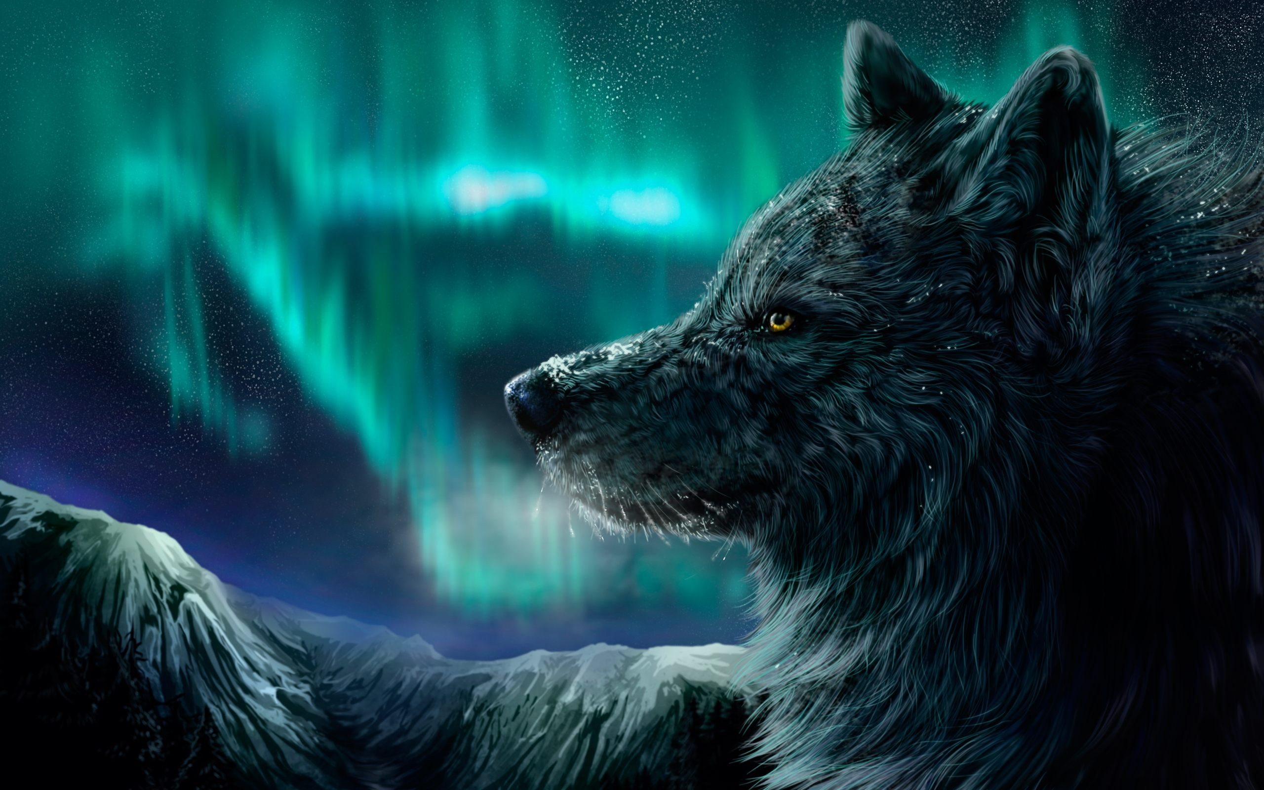 Northern Lights Wolf Wallpaper For Desktop PC amp Mobile 2560x1600