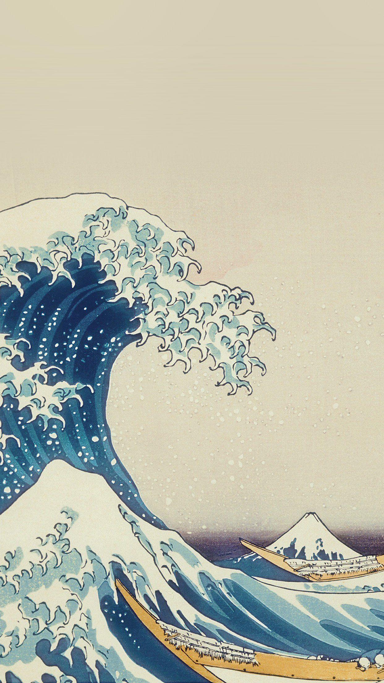 cool wave art hokusai painting classic art illustration iphone6 1242x2208