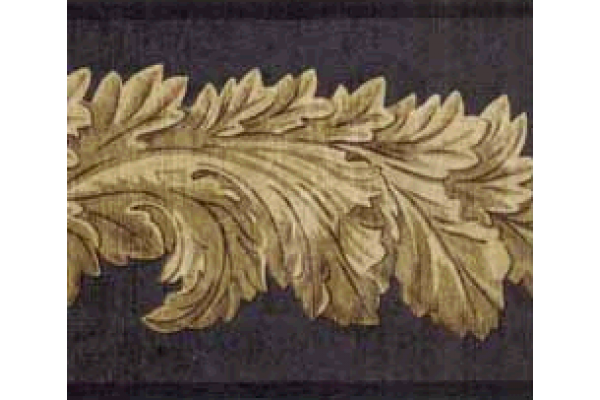 Home Black Leaf Molding Wallpaper Border 600x400