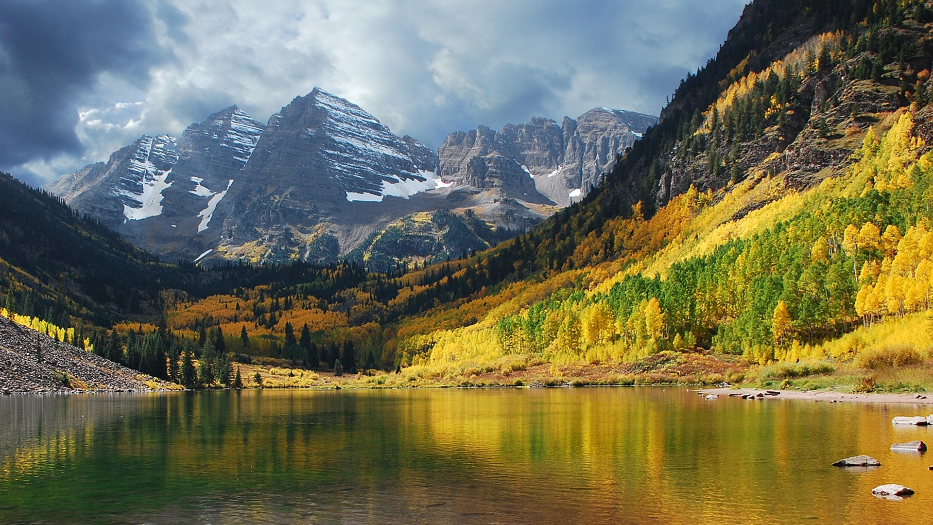 Hd Wallpapers Maroon Bell Mountain Colorado Lake Nature 1920 X 1080 1920x1080