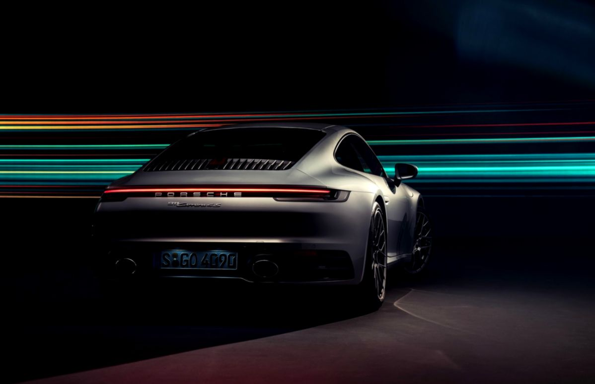 Porsche 911 Targa 4S Black Car Rear View Wallpaper Wallpapers Awards 1198x773