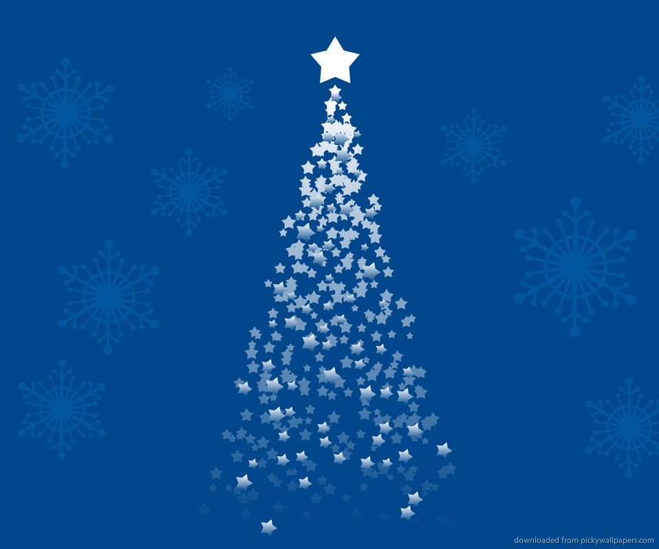 Free Download Christmas Tree On A Blue Background Wallpaper