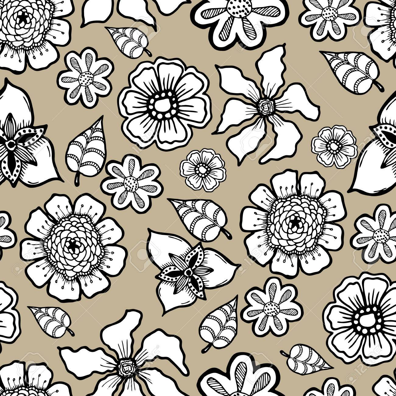 Ornate Floral Pattern With Flowers Doodle Sharpie Background 1300x1300