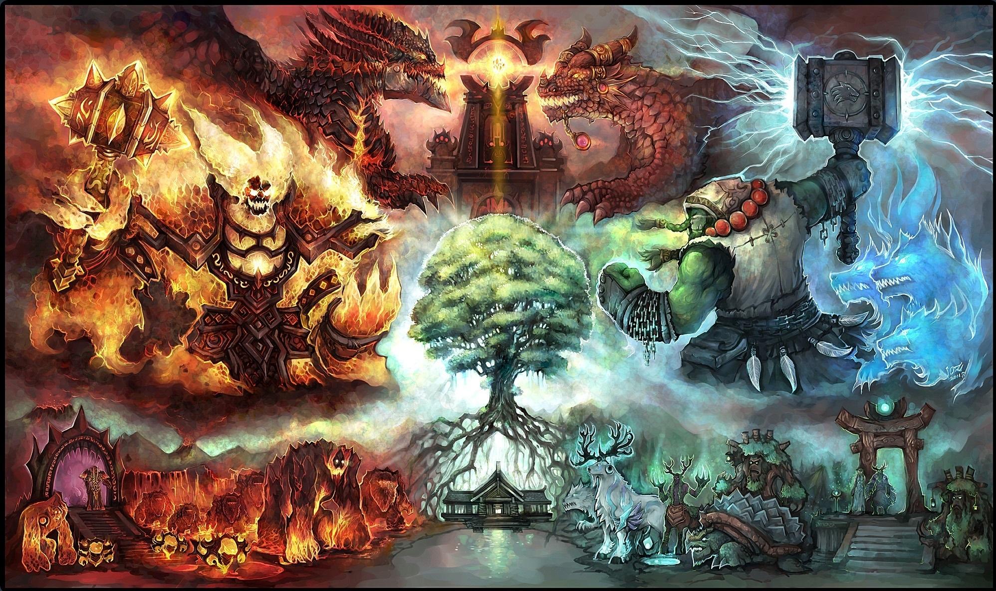 of WarCraft WoW Monster Dragon Warrior Games Fantasy wallpaper 1996x1184