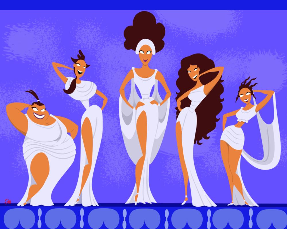 Disneys Hercules  Minimalist The Muses by BathedInSin 1000x798