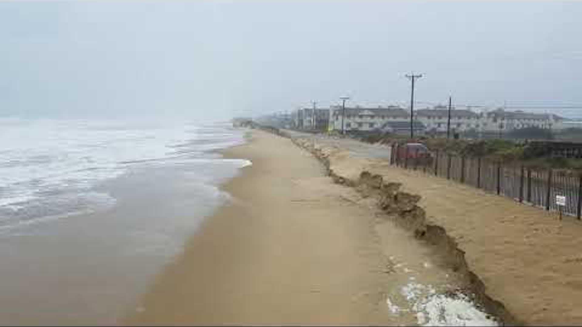 Hurricane Joses waves erode beaches in Outer Banks NC   The 1920x1080