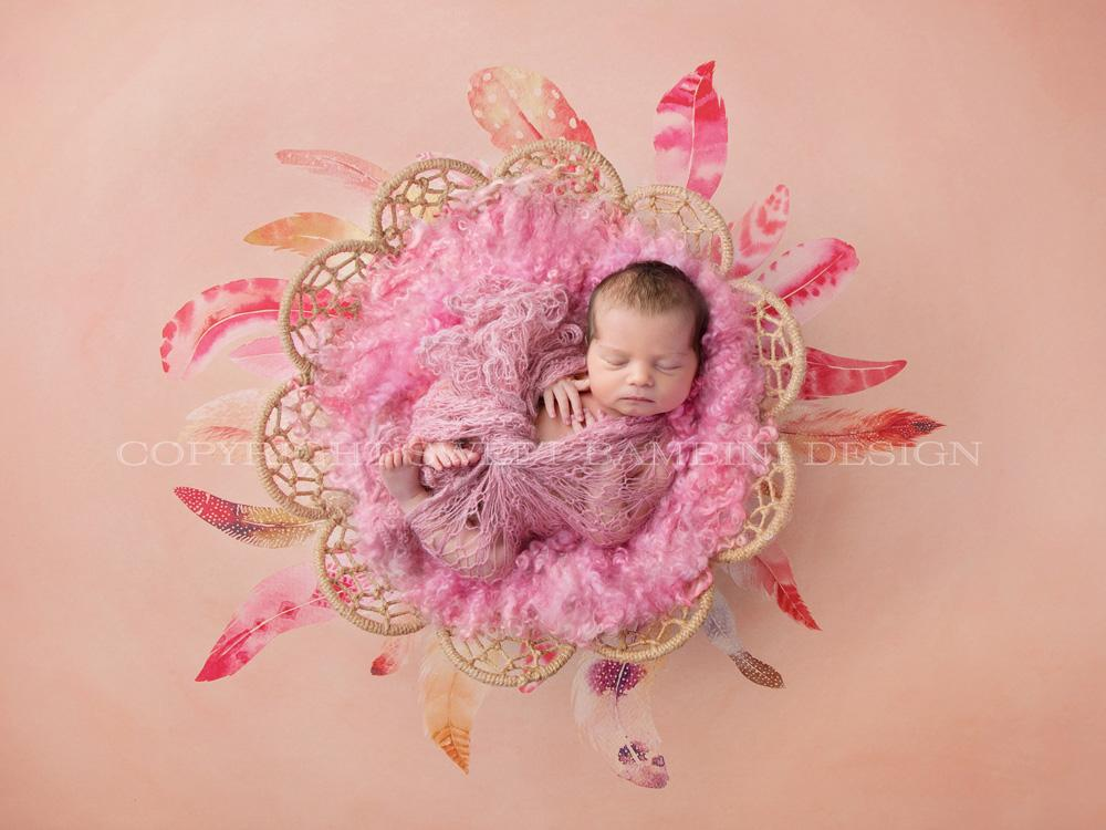Newborn Digital Background for girls   Boho Girl feather nest in 1000x750