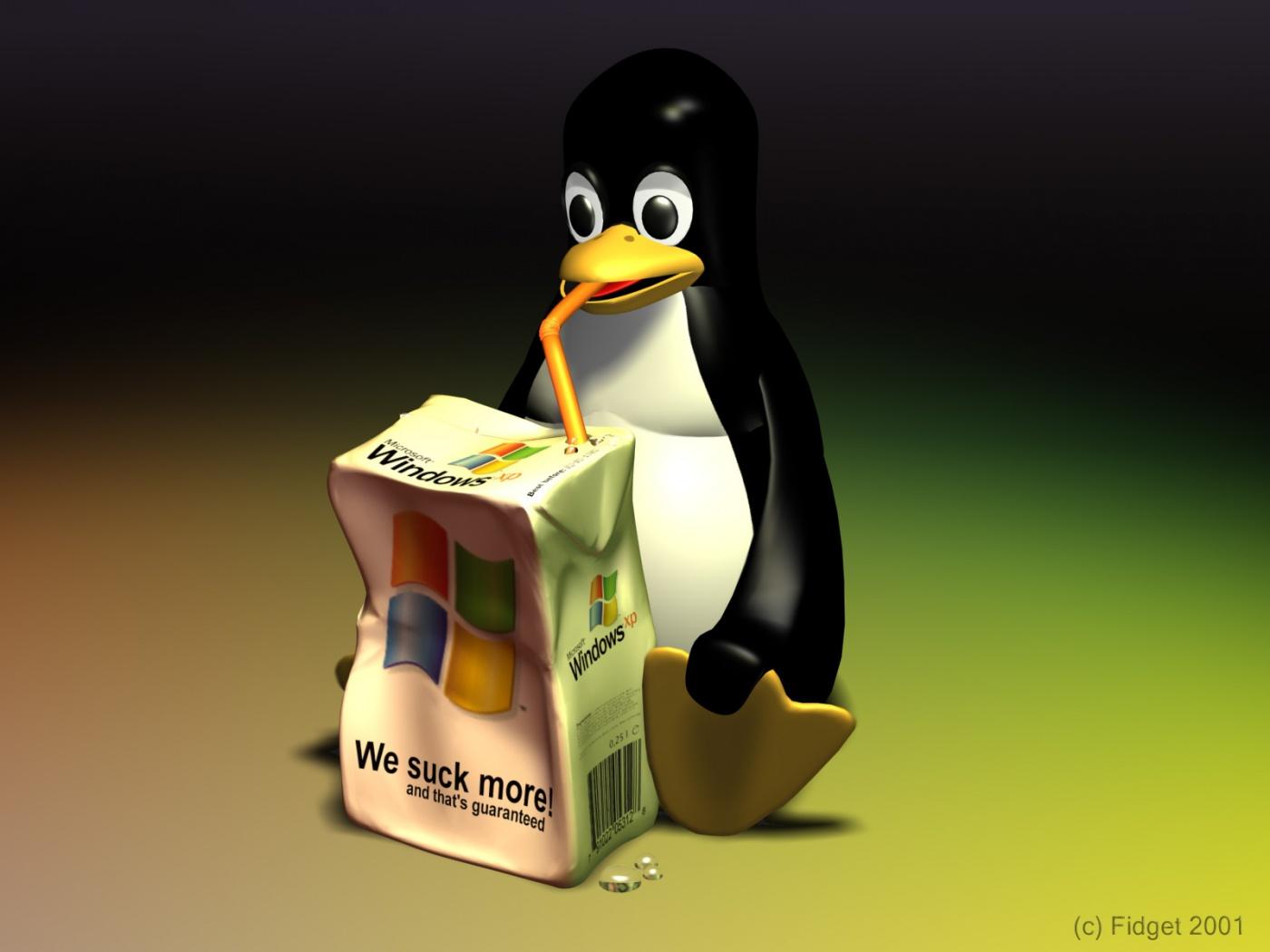 Download Description download Linux penguin suck windows wallpaper