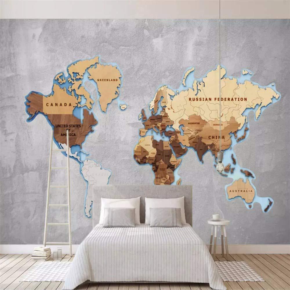 Amazoncom Wall Mural 3D Wallpaper Simple Wood Grain World Map 1000x1000