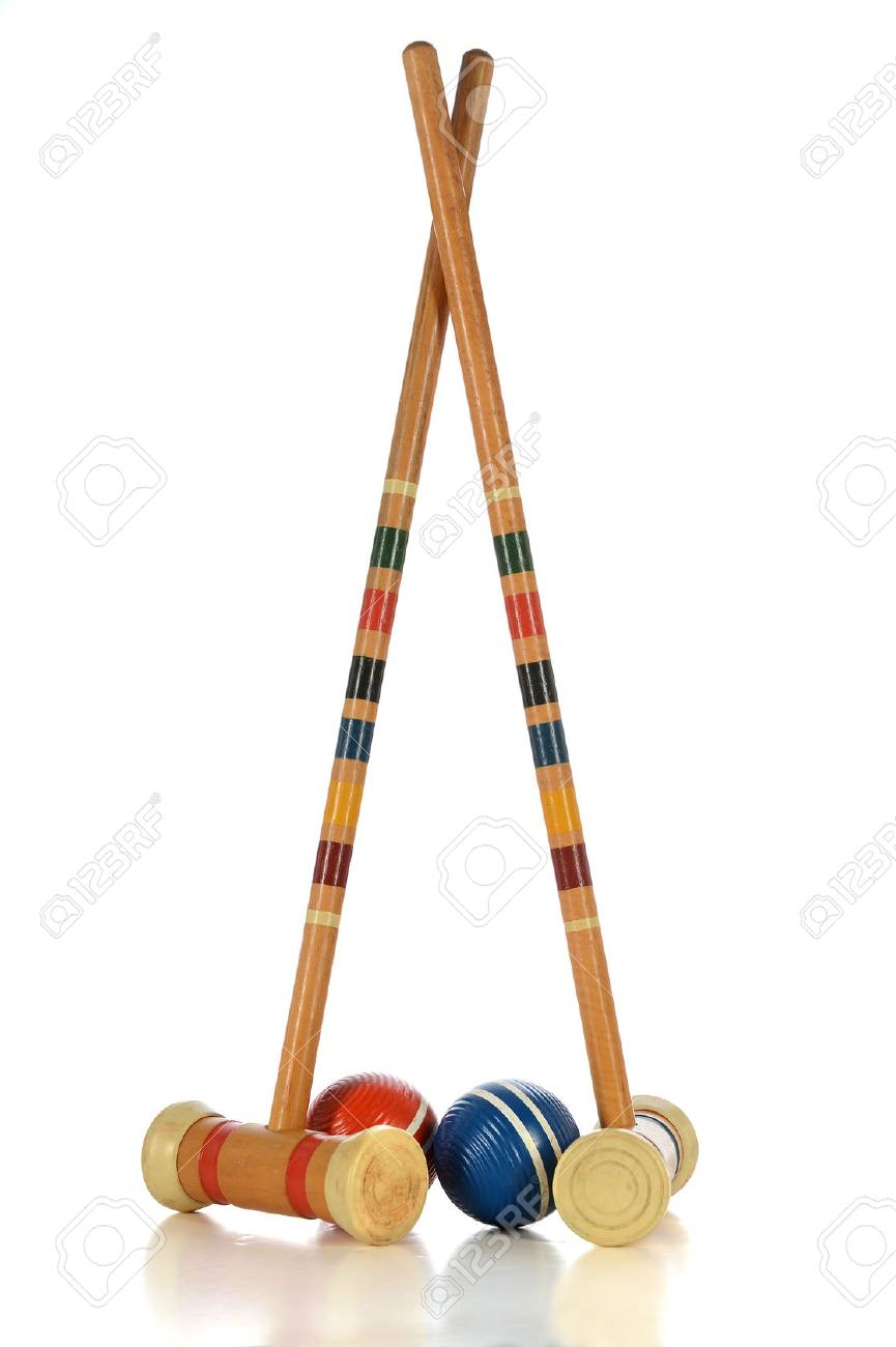 MAllets And Balls Of Croquet Game Isolated Over White Background 865x1300