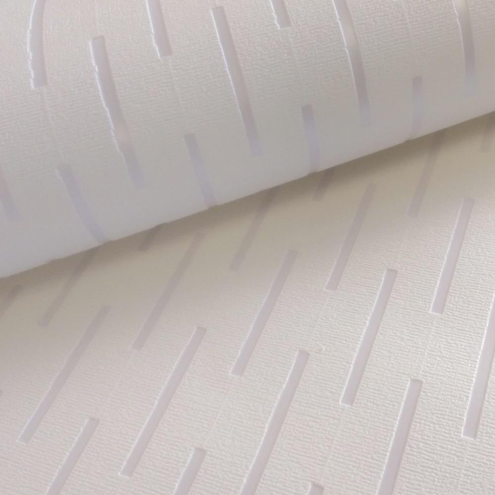 Dash White Blown Vinyl Stripe Textured Paintable Wallpaper 823201