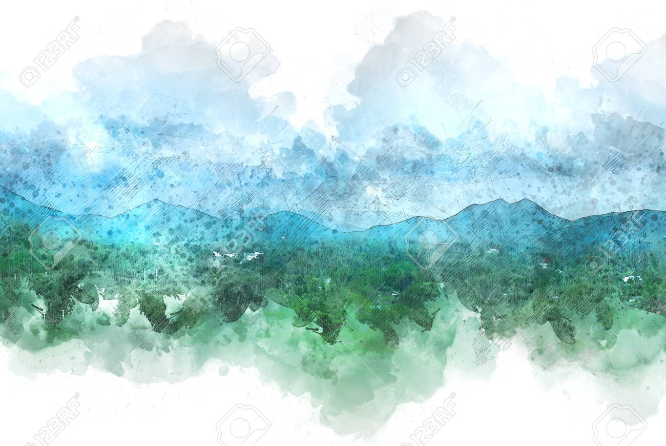 Beautiful Colorful Mountain Peak Watercolor Painting Background 1300x870