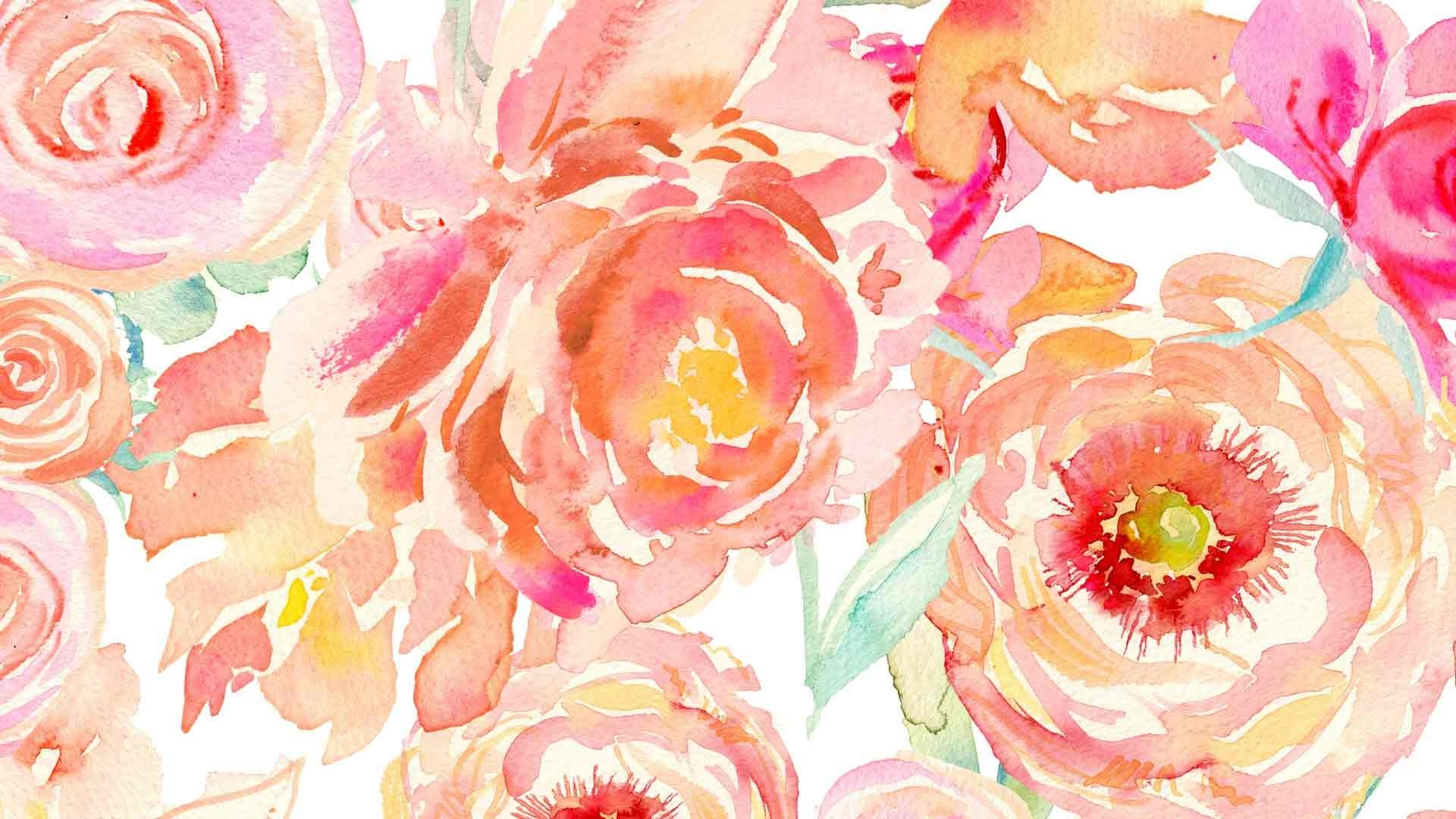 Flower Wallpapers   Watercolor Flowers Computer Background 1920x1080