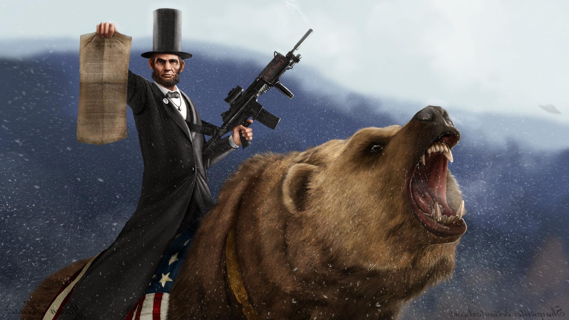 Abraham Lincoln Wallpaper Bear 1 1920x1080
