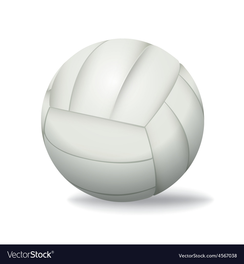 White Volleyball Isolated on a White Background Vector Image 1000x1080
