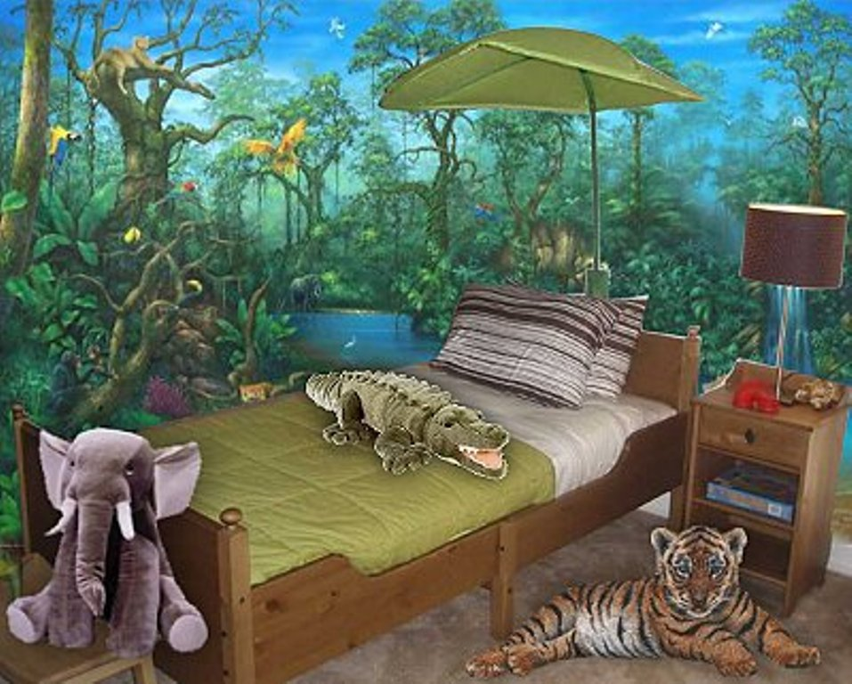 Jungle theme wallpaper for kids wallpapersafari for Forest themed bedroom ideas