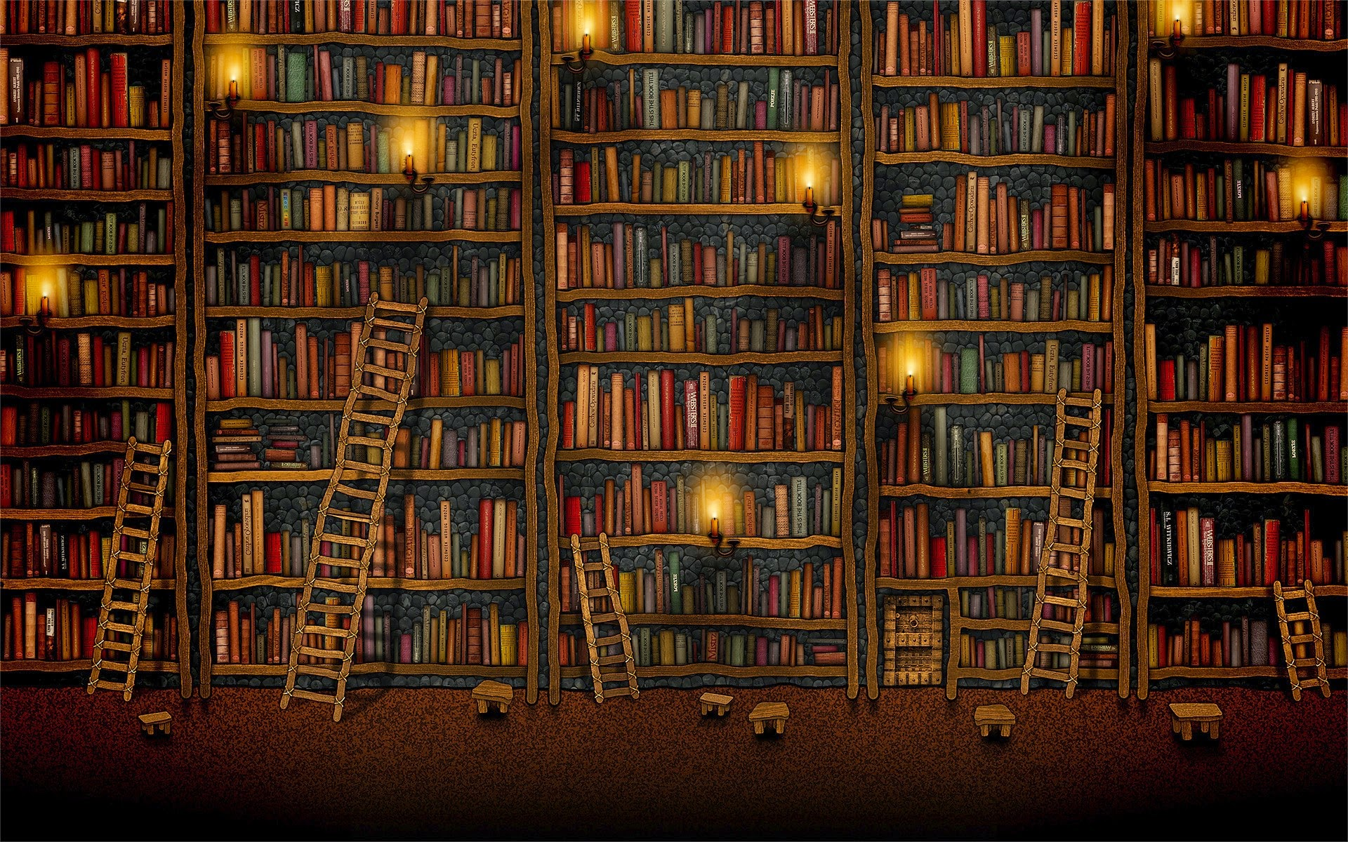 Library Books Wallpaper Old book library ladder 1920x1200
