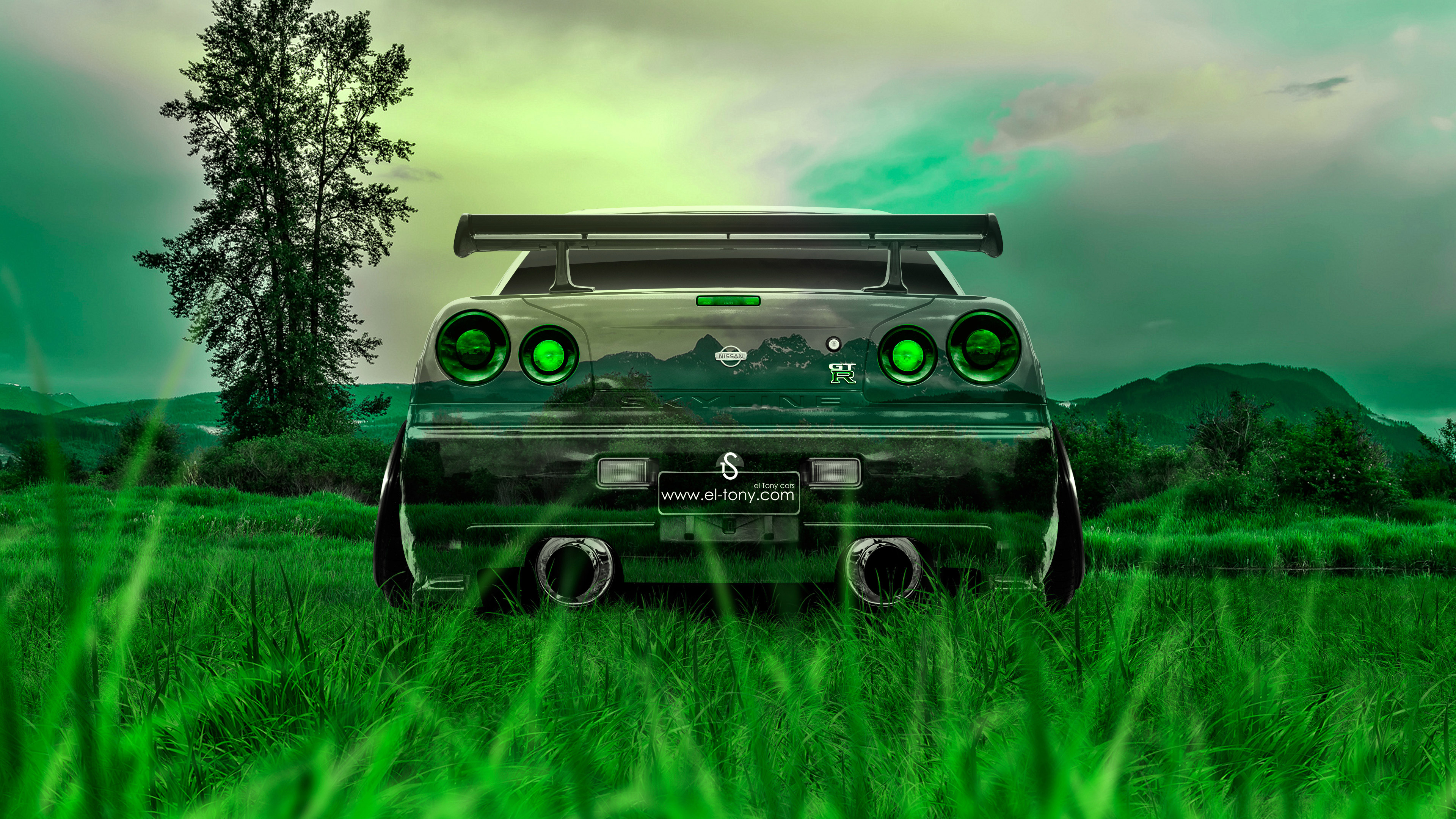 Back Crystal Nature Car 2015 Fantasy Green Grass Style 4K Wallpapers  3840x2160