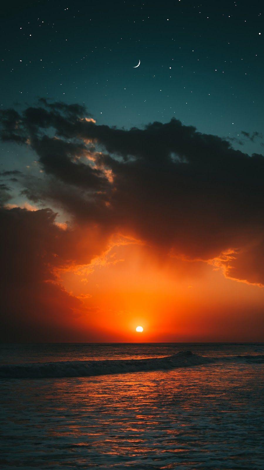 Sunset beach wallpaper orange Atardecer cielo Puestas de sol 900x1600