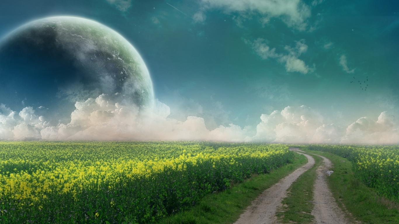 planets grass green grass sky clouds 1366x768