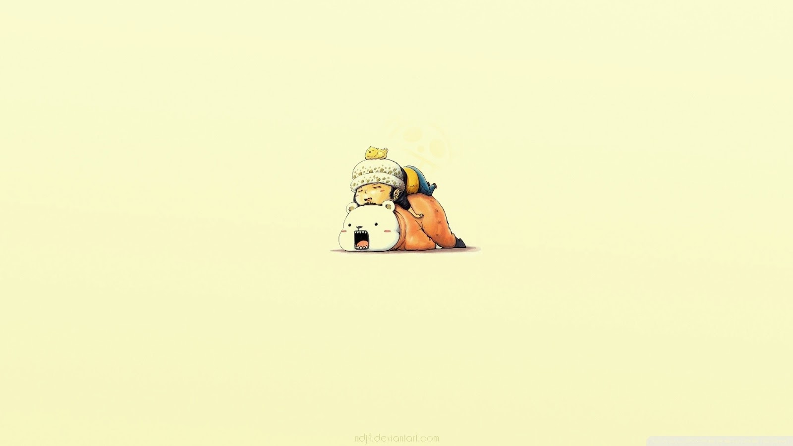 Cute Chibi Trafalgar Law Bepo Sleeping 0411 HD Wallpaper 1600x900