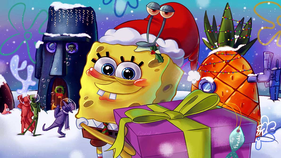Spongebob Christmas Wallpaper on Merry Christmas Coloring Pages