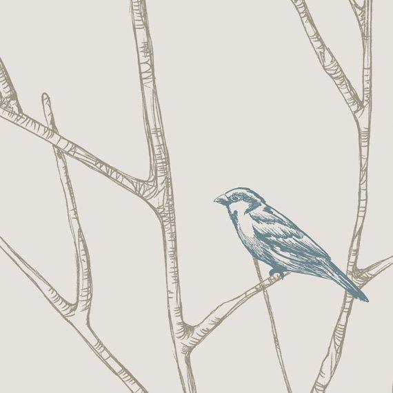 Branch Birds Blue Peel Stick Fabric Wallpaper by AccentuWall 570x570
