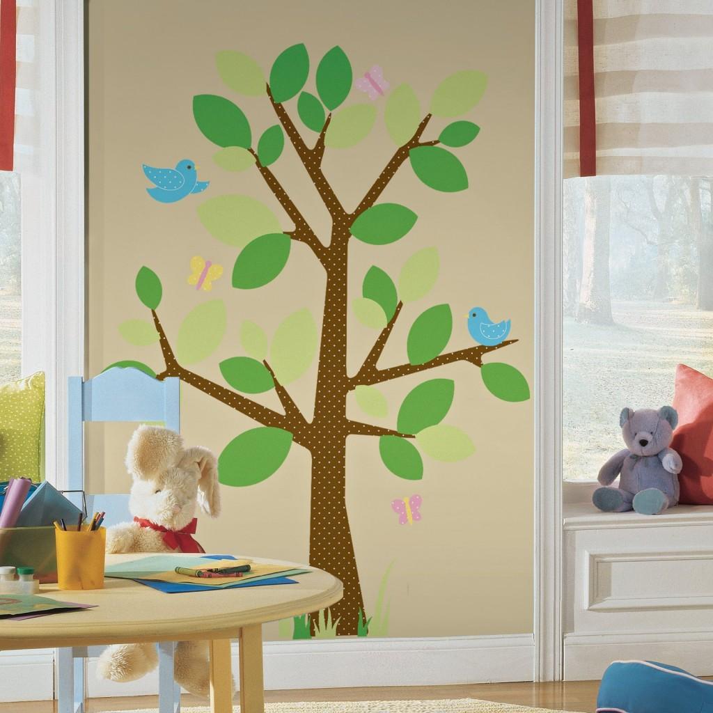 Charming Tree Wallpaper for Kids Playroom 1024x1024
